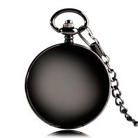 Elegant Black Smooth Steampunk Mechanical Pocket Watch Wind Up Fob Chain Brief Roman Number Classic Stylish