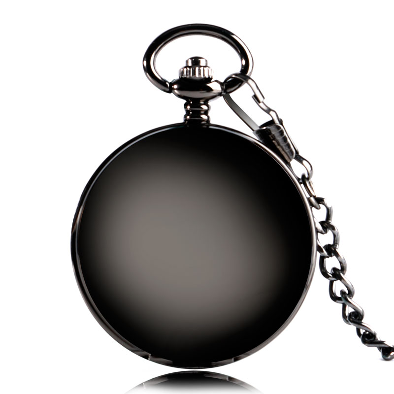 Elegant Black Smooth Steampunk Mechanical Pocket Watch Wind Up Fob Chain Brief Roman Number Classic Stylish for Men Women Gifts купить