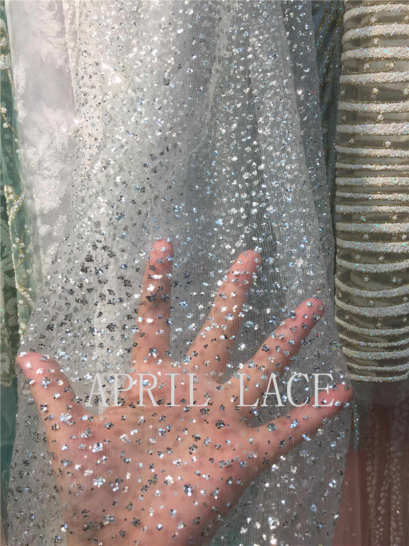 ... 5 yards hh015 silver dot dobby sexy glued sparkle glitter mesh net  tulle lace fabric for ... 65af372721b2