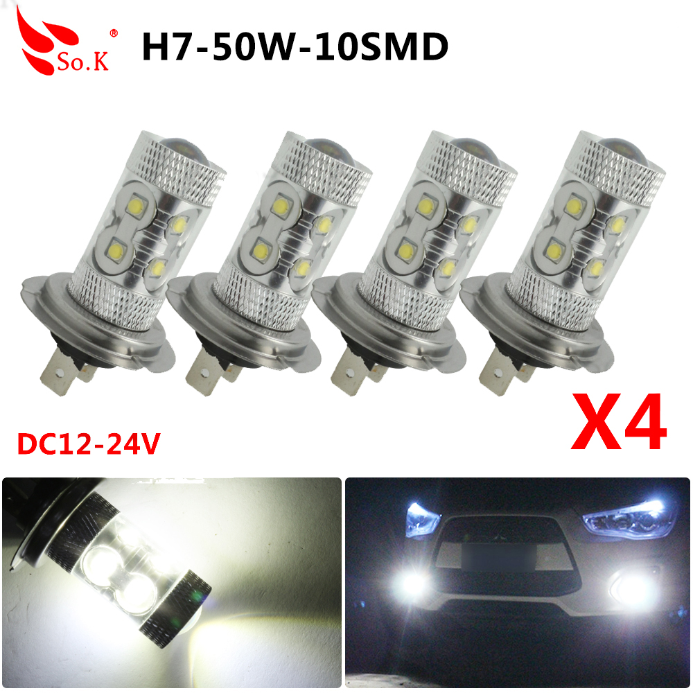 2pcs/4pcs <font><b>H7</b></font> LED Car Fog Lamp Bulbs 50W Super Bright White LED Car Auto Daytime Running Light Fog Light <font><b>2000LM</b></font> image