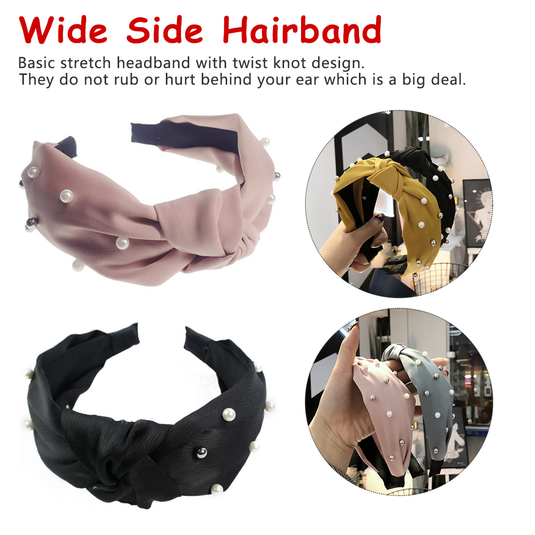Chic 1pcs fashion Wide Side Hairband Top Knot Turban Pearl Girls new style Elastic Cross Hair Accessories Lovely Fresh Women