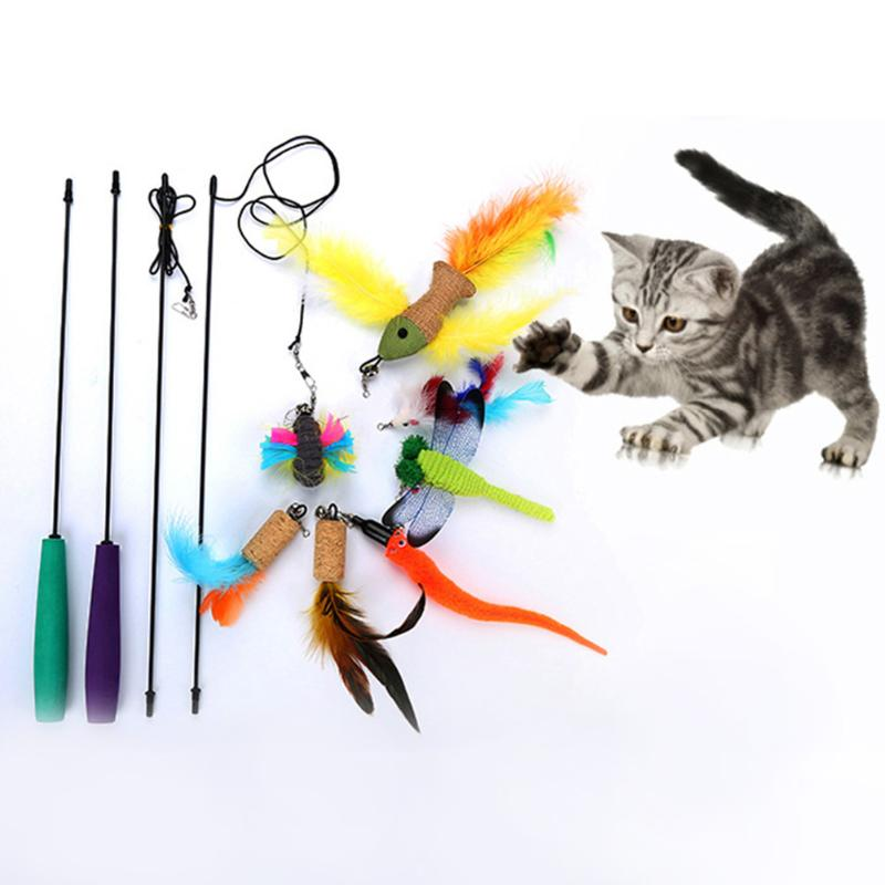 2pcs Cat Teaser Telescopic Rod Stick Pet Cat Toys with 7pcs Replacement Bird Feather Teaser Wand Plastic Pet Toys For Cat Toy