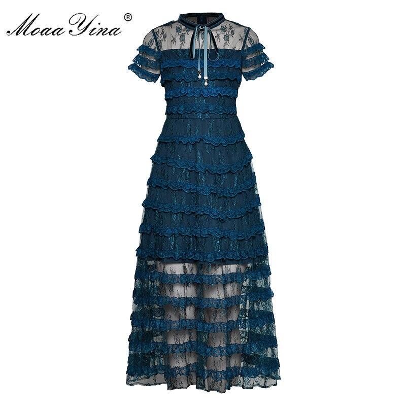 Kadın Giyim'ten Elbiseler'de MoaaYina Moda Tasarımcı Pist elbise İlkbahar Yaz Kadın Elbise Kısa kollu Dantel Ince Basamaklı Fırfır Zarif Elbiseler'da  Grup 1