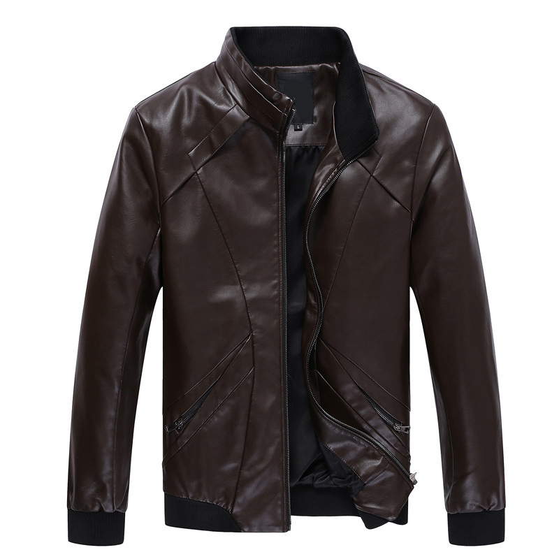 2018 New Fashion springtime Autumn Male Leather Jacket Plus Size S-5XL Black Mens Stand Collar PU Coats Leather Biker Jackets