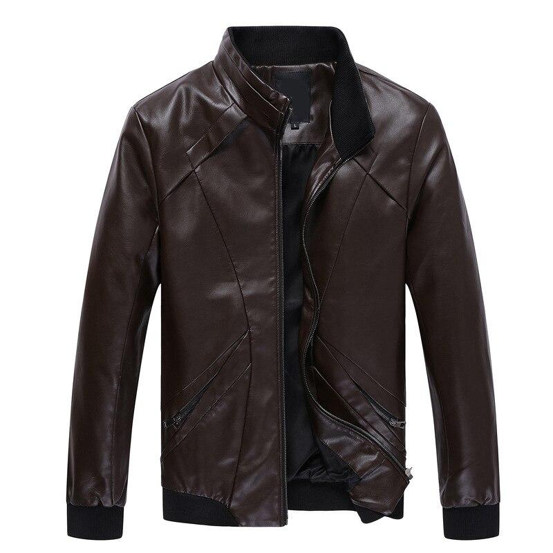 2018 Neue Mode Frühling Herbst Männliche Leder Jacke Plus Größe S-5xl Schwarz Herren Stehkragen Pu Mäntel Leder Biker Jacken
