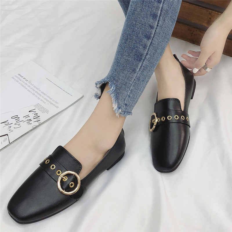 Spring Ladies British Shoes Ballet Flats Women Flat Shoes Woman Ballerinas Large Size Casual Shoes Sapato Women Loafers #40 2018 new genuine leather flat shoes woman ballet flats loafers cowhide flexible spring casual shoes women flats women shoes k726