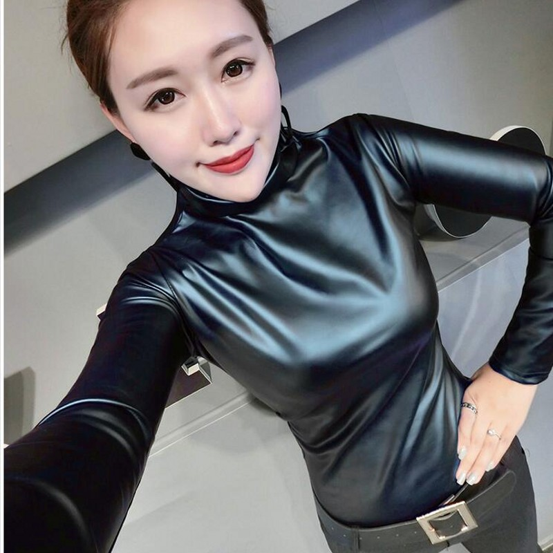 09eb8853b86cc European punk plus size women blouse autumn turtleneck long sleeve tops  shirt ladies velvet stretch camisas PU leather blouses -in Blouses   Shirts  from ...