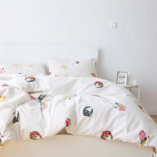 Wash Cotton Cute Hedgehog Print 3pcs Duvet Cover Sets 1pcs 2pcs Pillowcase