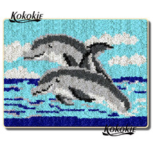 handmade cushion mat diy tapijt latch hook rug kits rug dolphin pattern printed vloerklee foamiran for needleworksets 3d carpet(China)