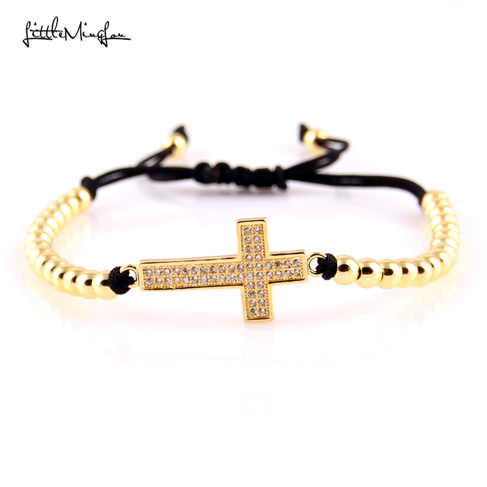 WML Trendy Men bead Bracelet Micro Pave CZ cross Charm copper Braided Jesus bracelets bangles for women Jewelry in Charm Bracelets from Jewelry Accessories