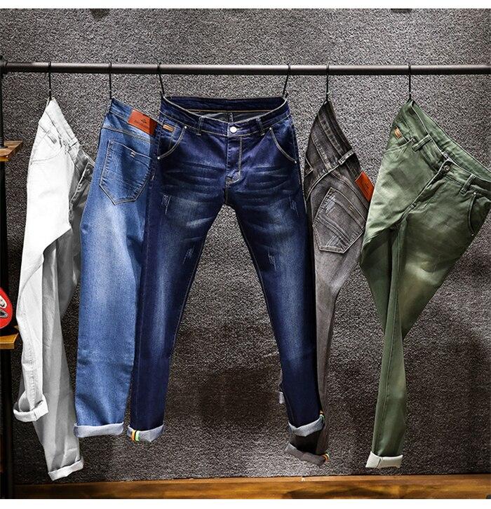 6 Colors 2019 CHOLUL New Men's Skinny White Jeans Fashion Elastic Slim Pants Jean Male Brand Trousers Black Blue Green Gray