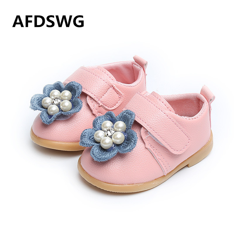 AFDSWG spring and autumn pink flowers breathable black leather shoes girls princess shoes white children leather shoes