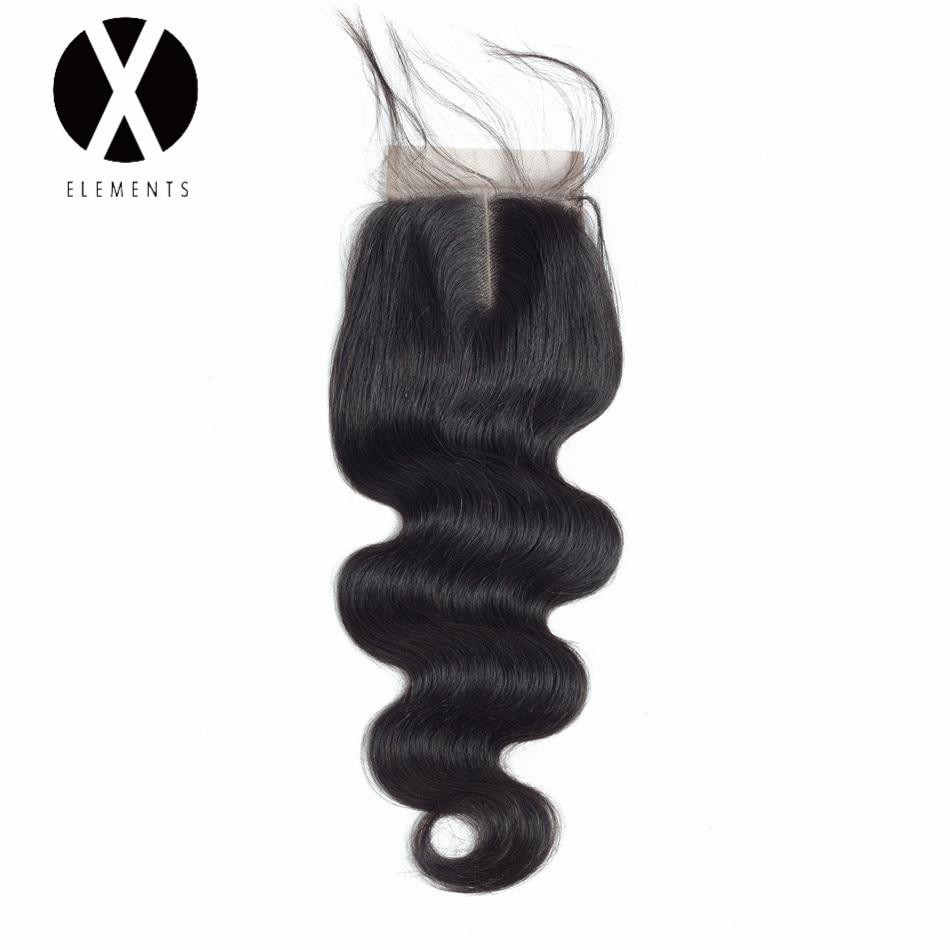 X-Elements Mänskligt Hår 4 * 4 Snörning Lace 1 Piece Body Wave - Mänskligt hår (svart)