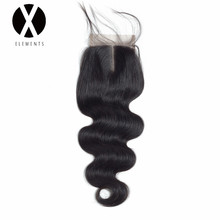 X-Elements Human Hair 4 * 4 Vetersluiting 1 stuk Body Wave Hair Zwitserse Vetersluiting Non-Remy Brazilian Hair Natural Color