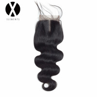 X Elements Human Hair 4 4 Lace Closure 1 Piece Body Wave Hair Swiss Lace Closure