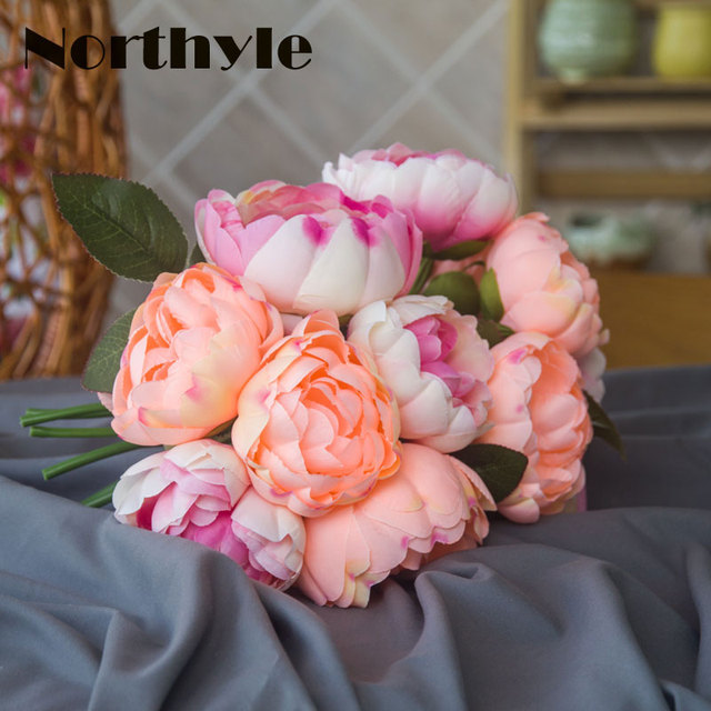 Peony Bouquet Artificial Peony Fabric White Flowers Bridal Bouquet ...