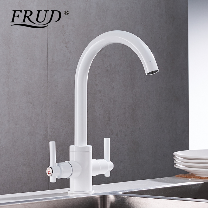 Frud Two-handle Faucet White Hot And Cold Kitchen Sink Faucet Classic Rotatable Kitchen Faucet Ceramic Plate Spool Tap Y40018 pull the kitchen faucet hot and cold all copper single handle double control rotary groove faucet faucet ceramic spool lu50511