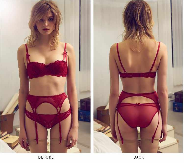 83def5199997 ... 3 Pcs Lingerie Victoria Sexy Bra Panty Set Intimates With Garters  Embroidery Half Cup Thin Temptation ...