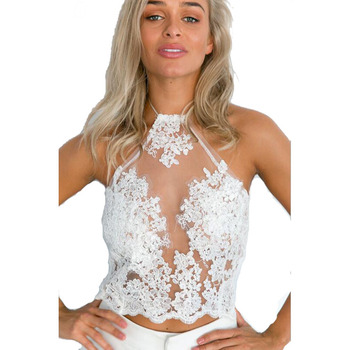 Elegant white lace crop top Summer beach backless short halter tops 2017 fashion sexy white party  women tank top 4