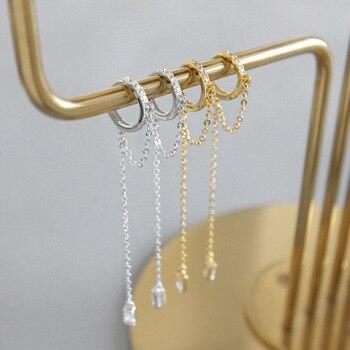 d03c038c51dd HFYK 2019 oro Cadena de plata pendientes de borla mujeres de Plata de Ley  925 pendientes de plata pendientes largos pendientes de fiesta Oorbellen