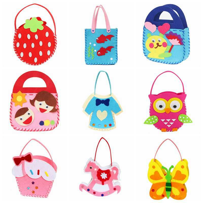 Kits de artesanato para crianças brinquedo diy não-tecido saco de pano dindergarten sacos artesanais projetos de costura crianças kit de tecido diy crianças brinquedos