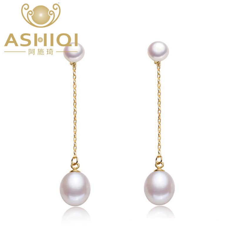 цена на ASHIQI 925 sterling silver drop Earrings Natural Freshwater double Pearl Earrings Fine jewelry for Women gift