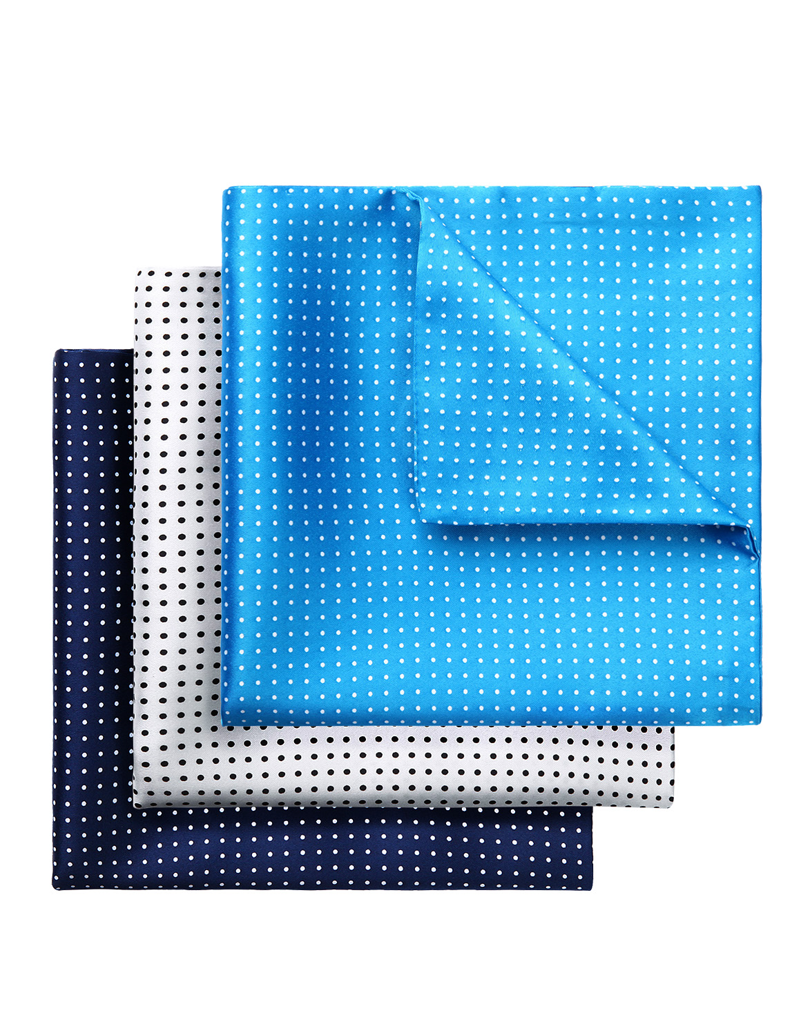 3 Piece Assorted Polka Dot Printed Classic Double Sided Men Silk Party Weeding Handkerchief Pocket Square Hanky Set