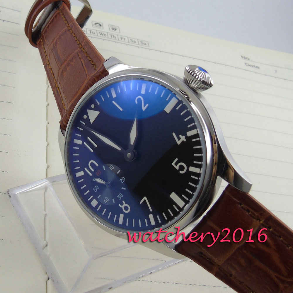 44mm Parnis stainless black dial brown Leather 6497 hand winding movement Men's Watch цены онлайн