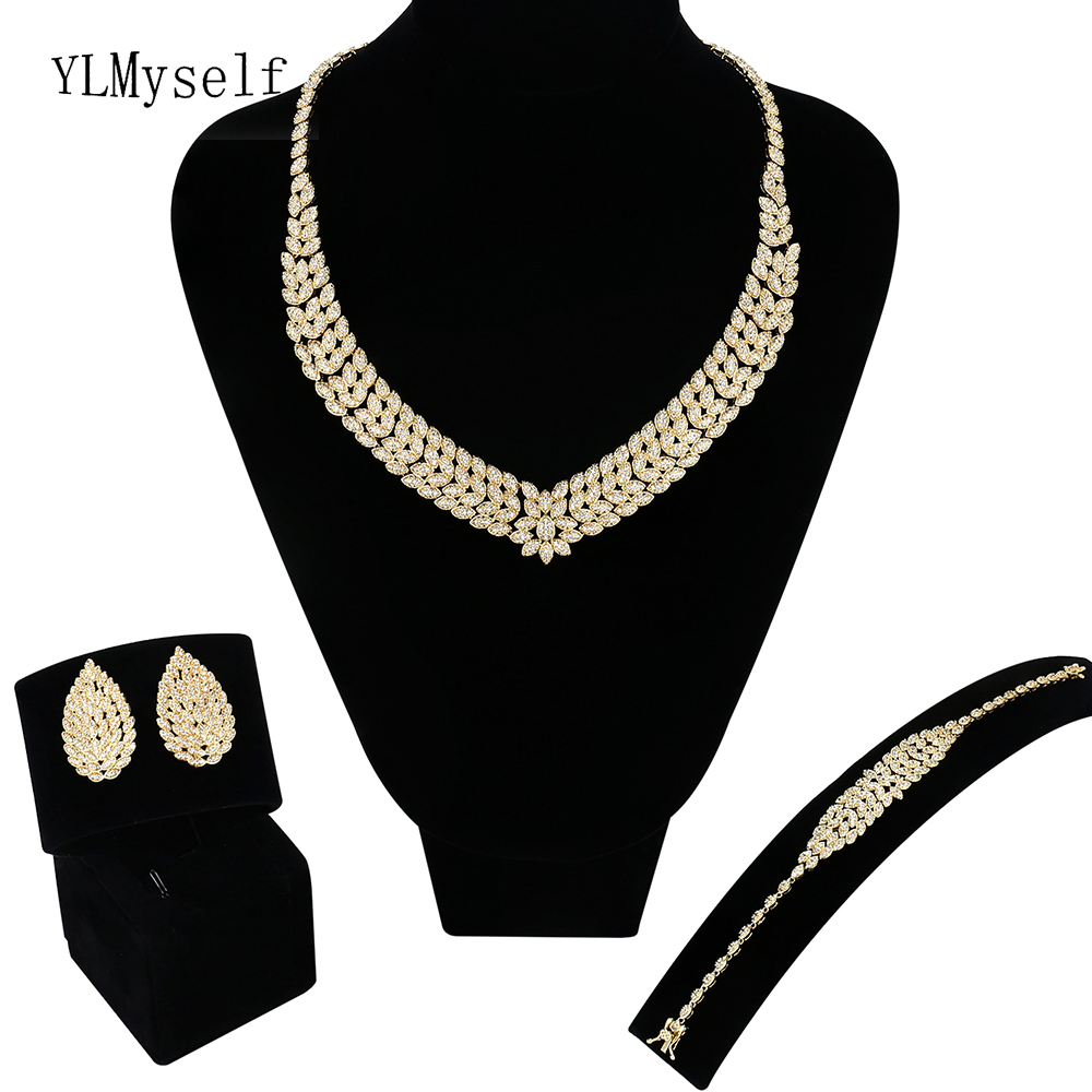 New Big wedding 4pcs jewelry sets Gold & White Necklace/Bracelet/earrings/Free gift ring Saudi Large jewelry set for bridal цена