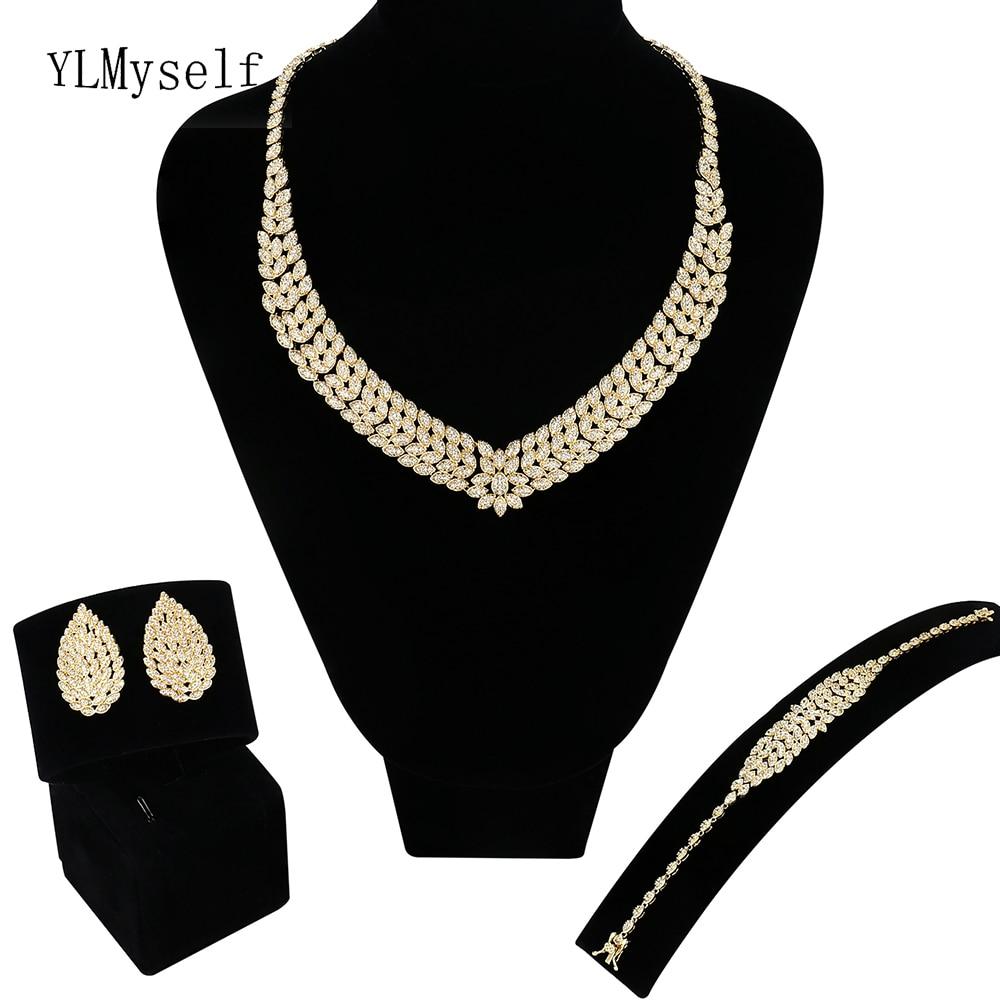 New Big wedding 4pcs jewelry sets Gold & White Necklace/Bracelet/earrings/Free gift ring Saudi Large jewelry set for bridal