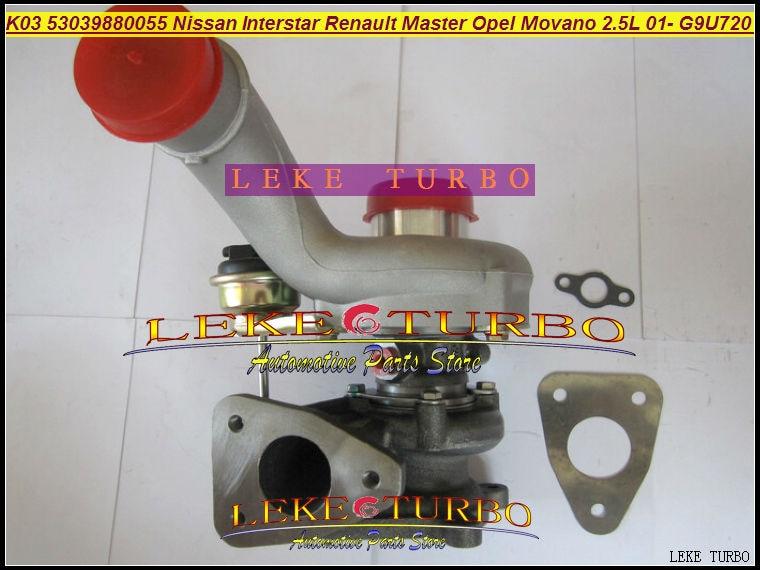 K03 53039700055 53039880055 Turbo turbodmychadlo pro Nissan Interstar Pro Renault Master Pro Opel Movano 2001- G9U 720 G9U720 2.5L