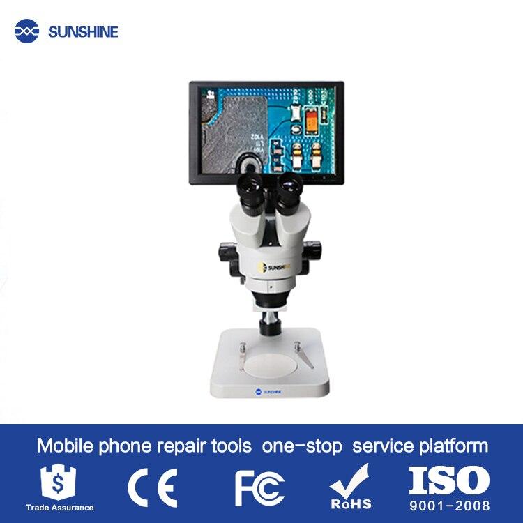 SUNSHINE Newset 10.1 pouces SZM45T-B1-1600S HDMI 1600W mégapixels caméra avec microscope à zoom trinoculaire pour la réparation de téléphone portable