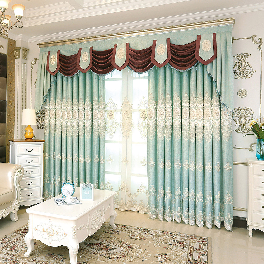 Polyester luxury Embroidered Decoration Blackout curtains screen the ...