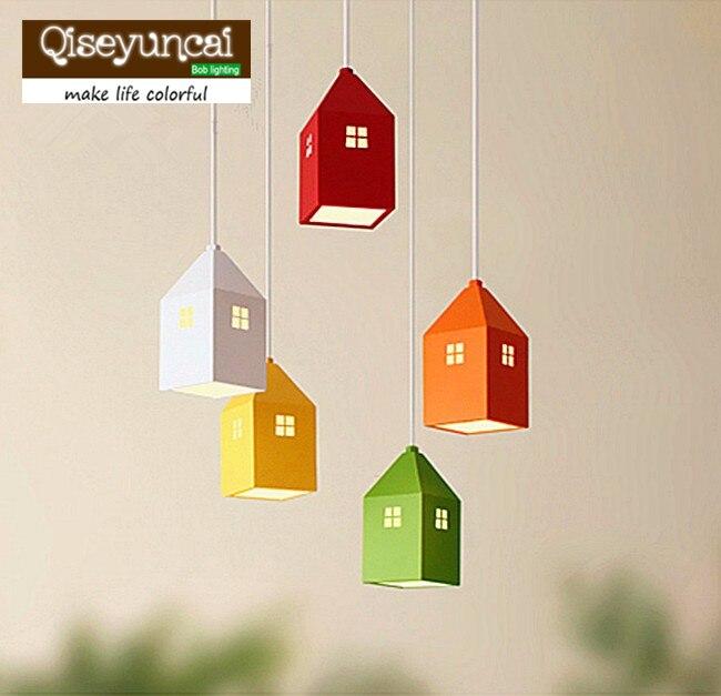 Creative Mini maison campagne bande dessinée pendentif lumière pour enfants chambre salon maternelle AC 90-265 V livraison gratuite