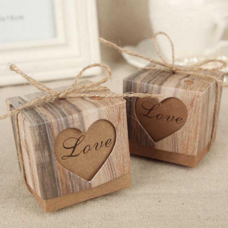 1 PC Romantis Vintage Jantung Kraft Kertas Kotak Permen dengan Benang Goni Hadiah Pernikahan dan Hadiah Tas Pesta Pernikahan Persediaan