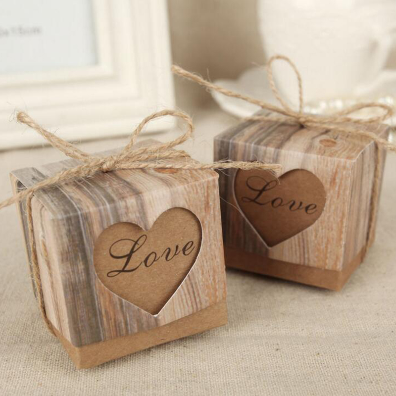 1pc Romantic Vintage Heart Kraft Paper Candy Box With Burlap Twine Wedding Favors And Gifts Bag Party Wedding Supplies
