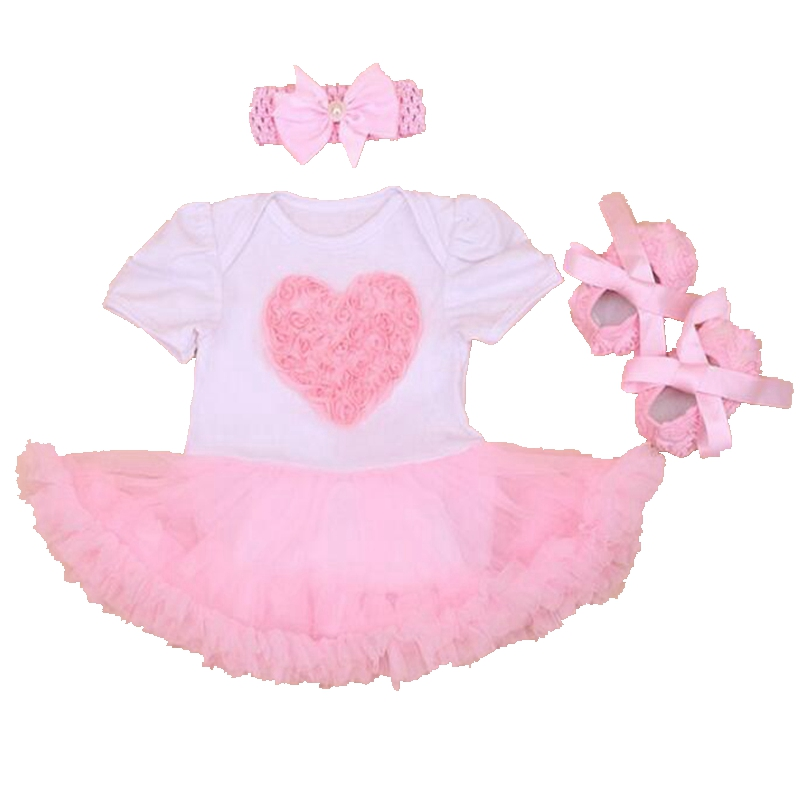 Pink Love Applique Baby Girl Petti Romper Dress Lace Tutus Crib Shoes Headband Newborn Tutu Sets Kids Clothes Infant Clothing