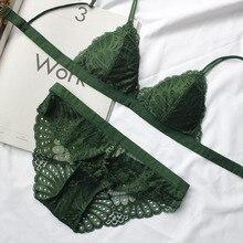 欧米フル三角カップ睡眠女性服でセクシーなブラセット下着セット女の子 bralette パッドとパンティー