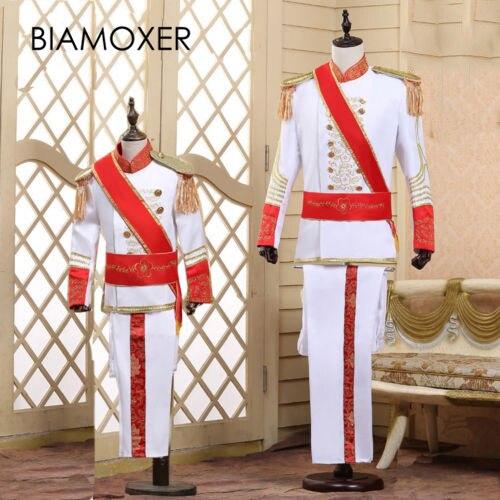 Biamoxer Kids Royal King Prince Jacket Pant Full Set Kid Medieval Leader Cosplay Costume
