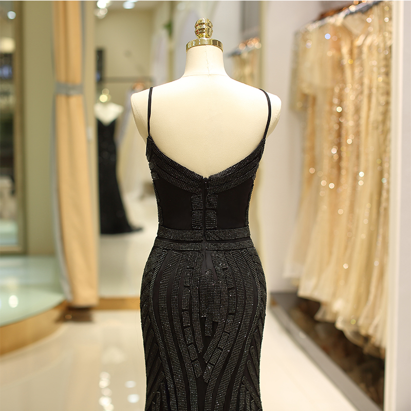 2019 Sexy Deep V-Neck Diamonds Trim Long Gold Black Formal Evening Gown Robes De Soiree Prom Dress Evening Dresses Mermaid Style 3
