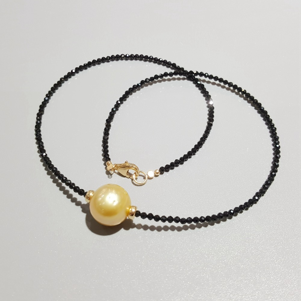 Lii Ji Golden South Sea Pearl Black Spinel Necklace 12 13mm Real Pearl 925 Sterling Silver
