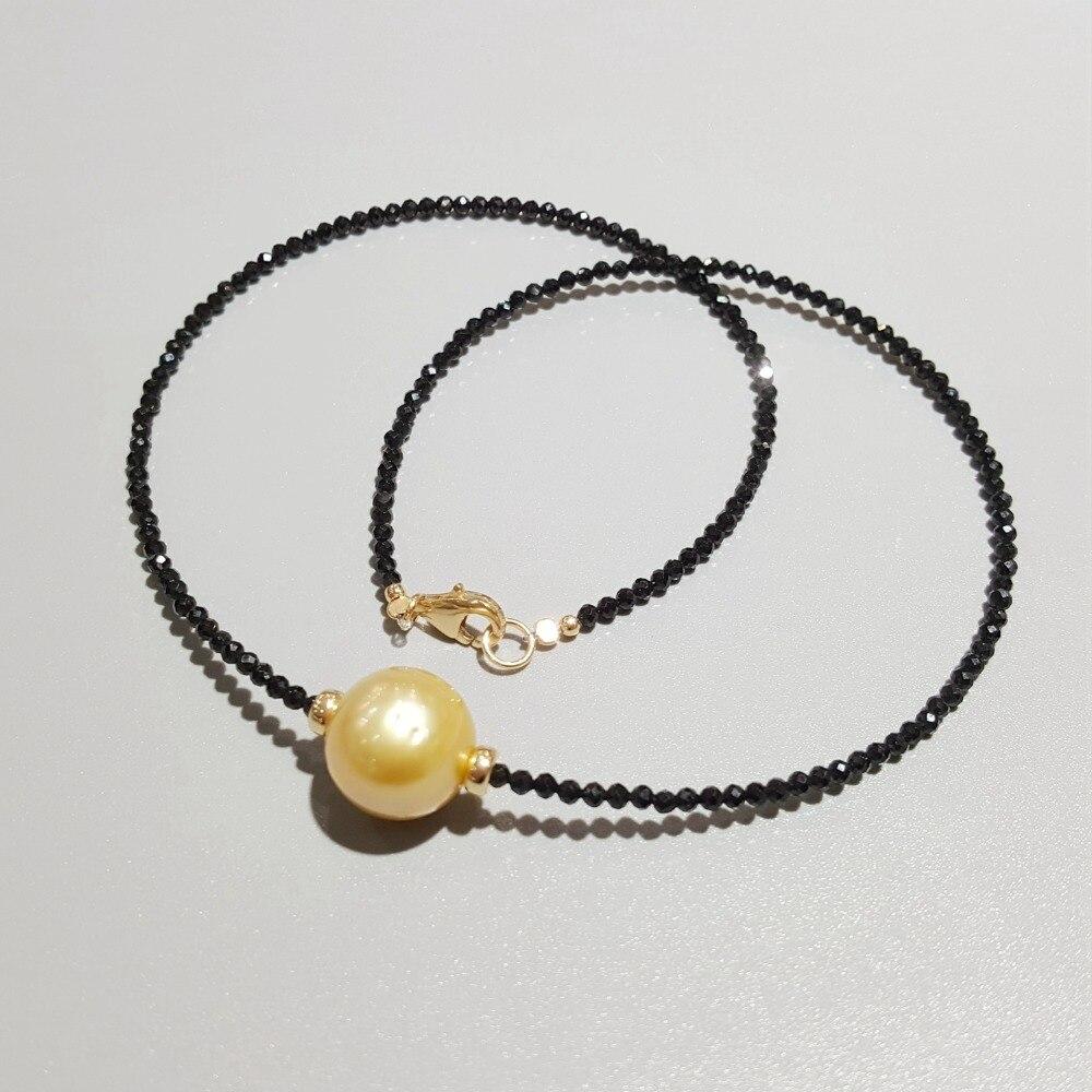 Lii Ji doré mer du sud perle noir spinelle collier 12 13mm vraie perle 925 Sterling argent 18 K plaqué or bijoux délicats-in Colliers from Bijoux et Accessoires    1