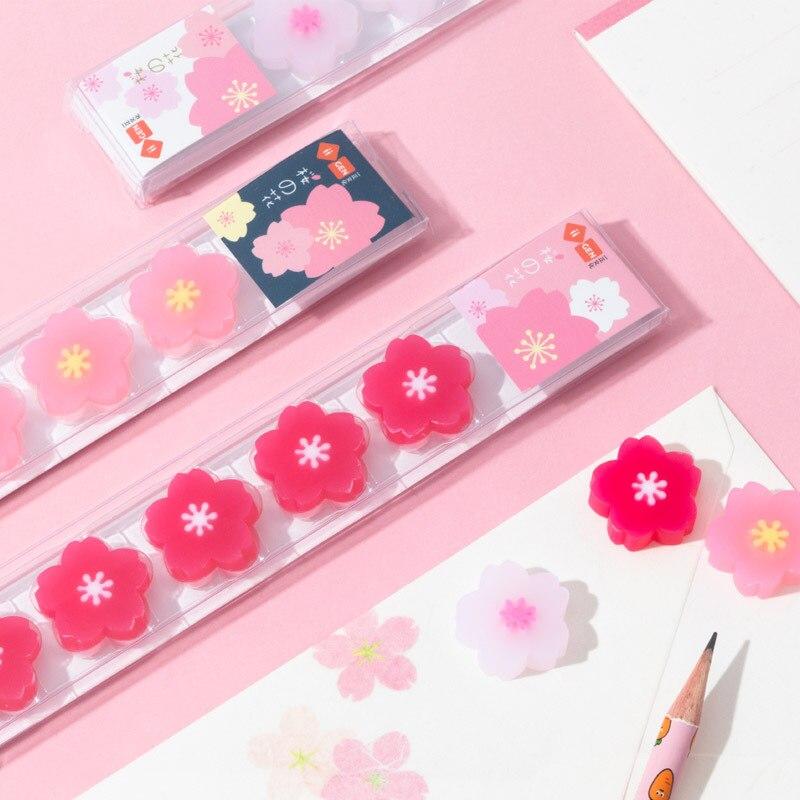 90pcs/18sets  Kawaii Eraser Flower Lovely Cherry  Eraser For Pencils Kids School Office Supplies Japanese Stationary Kids Gift