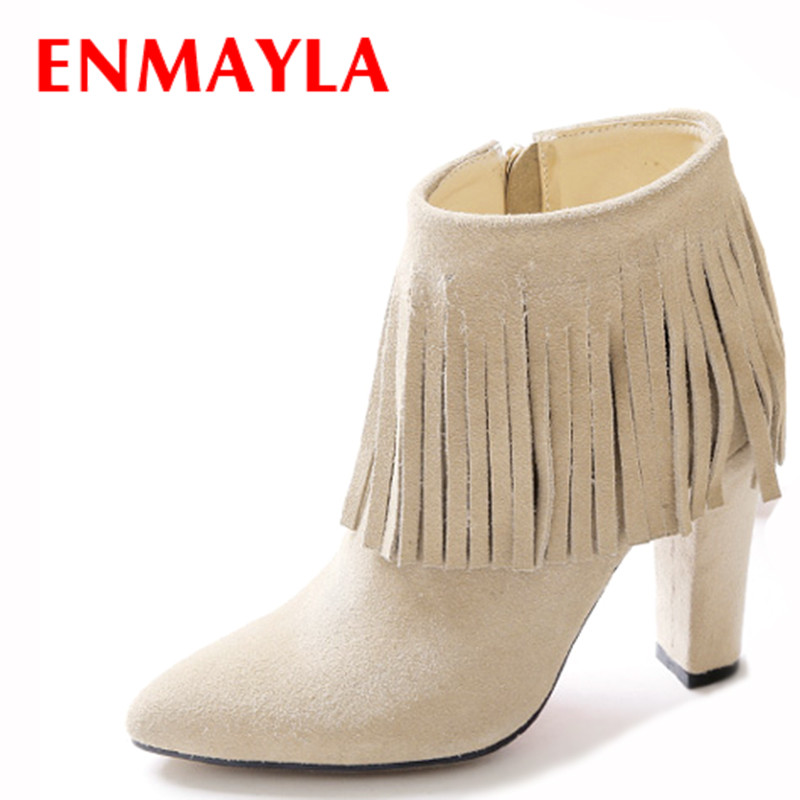 ENMAYLA Women High Heels Full Grain Leather Shoes Woman Tassel Pointed Toe Ankle Boots for Women Square Heels Suede Black BootsENMAYLA Women High Heels Full Grain Leather Shoes Woman Tassel Pointed Toe Ankle Boots for Women Square Heels Suede Black Boots