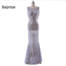 Baijinbai Fashion Evening Dresses Sexy Real Sheer Sequins Backless Silver Robe De Soiree Floor-Length Women Formal GownS112701