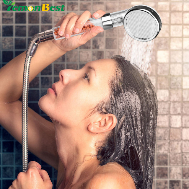 Universial 8cm Ionic Shower Head Filter Handheld Turbocharged Pressure Showerhead Water Saving with Energy Ball Filtration