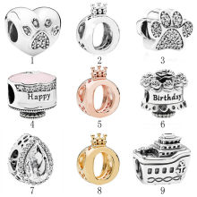 Authentic 925 Silver DIY Jewelry Paw My Pet Crown O Happy Birthday Teardrop Cruise Charms fit Lady Bracelet Bangle(China)