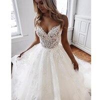 Изготовленный на заказ белый свадебное платье цвета слоновой кости Свадебные платья А v образным вырезом Аппликации Кружева бретельках