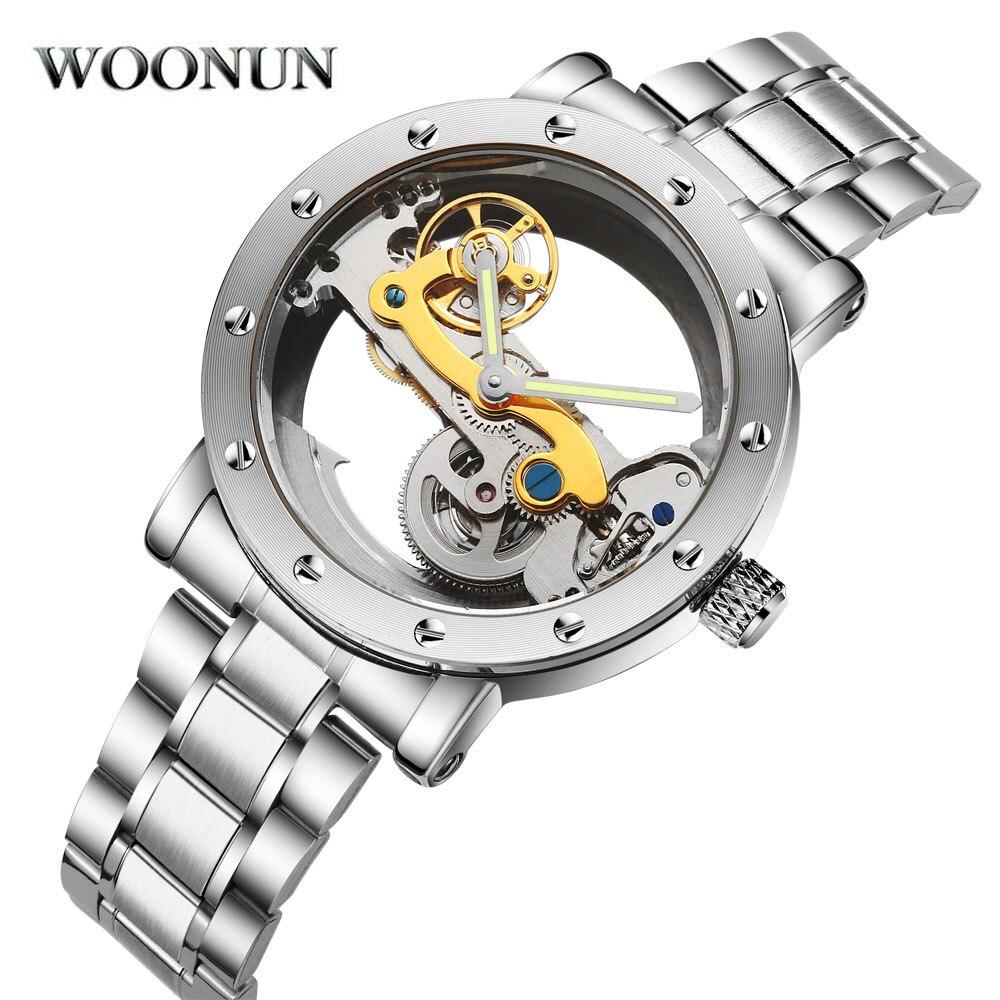 Nouveau 2018 homme montre de luxe mécanique montre hommes en acier inoxydable automatique auto vent montre squelette Transparent montre creuse