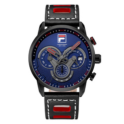 Fila Men's Fashion Sport Watches Men Quartz Analog Date Clock Man Leather Military Waterproof Watch Relogio Masculino 785